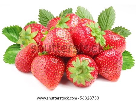 Group of appetizing strawberries with leaves on back. Isolated on a white background. - stock photo