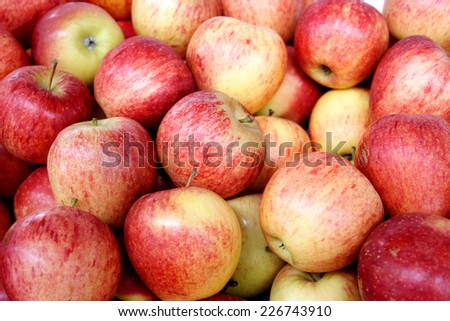 Group of apples in a grocery store - stock photo