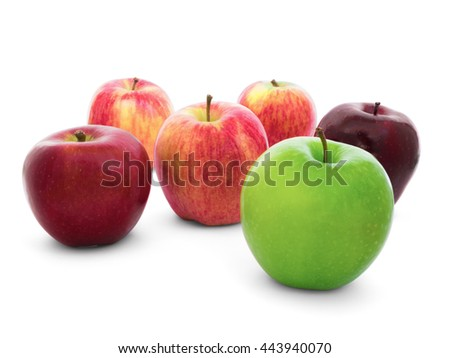 Group of apples varieties (New Zealand Eve, Granny Smith, Ambrosia, Green, Gala, Divine, Red, Fuji) Isolate on White Background with Clipping Path - stock photo
