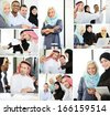 Group of Arabic business people working - stock photo