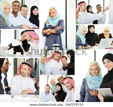 Group of Arabic business people working