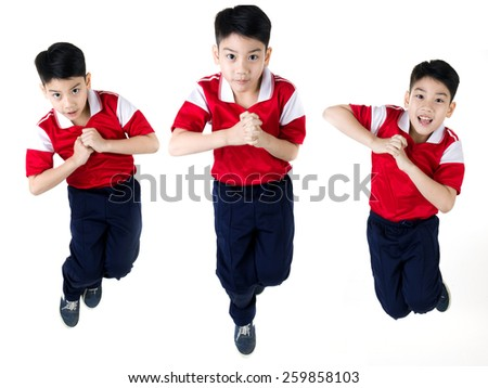 Group of Asian boy  jumping over white background