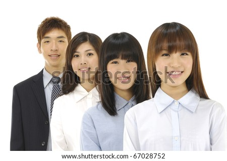 group of  asian business people smiling - stock photo