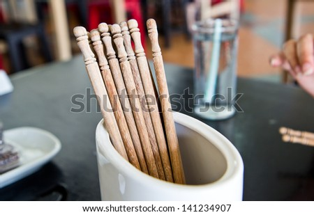 Group of asian chopsticks in chinese restaurant