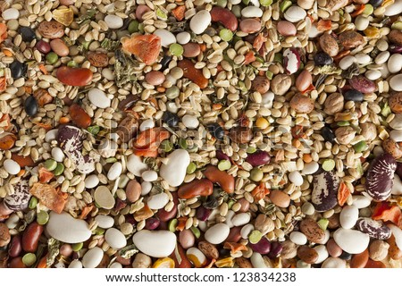 Group of Assorted Dry Beans and Vegetables
