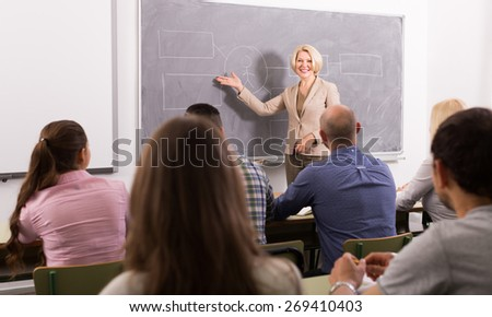 Group of attentive adult students with smiling female teacher in classroom