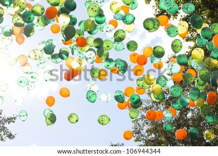 group of balloons on a sunny day - stock photo