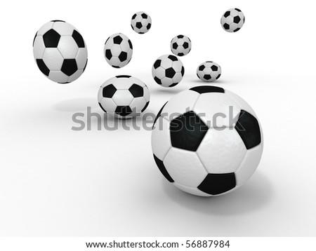 Group of balls. Soccer. 3d - stock photo