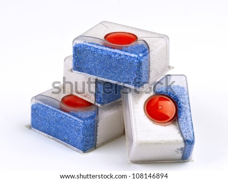 group of bars of soap for dishwashers - stock photo