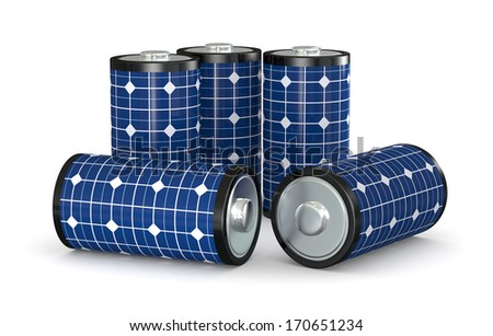 group of  batteries covered with a solar panel, concept of clean energy (3d render) - stock photo