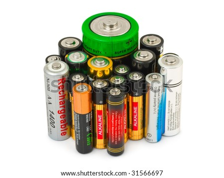 Group of batteries isolated on white background - stock photo