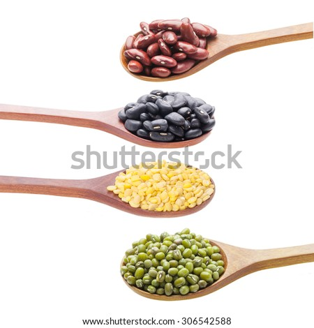 Group of beans and lentils isolated on white background - stock photo