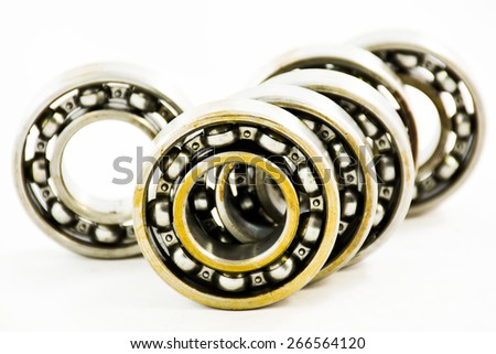 Group of bearings isolated on white background.