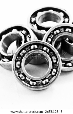 Group of bearings isolated on white background, Black and white photo.