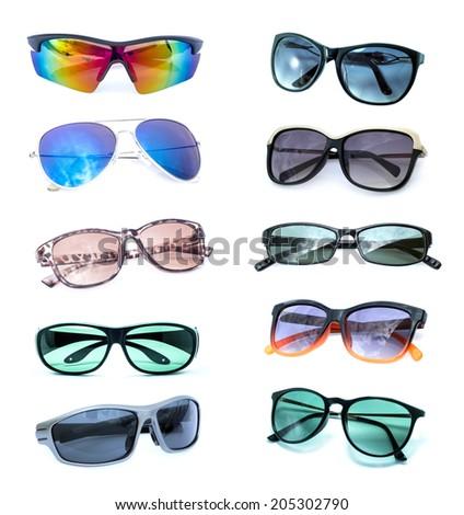 Group of Beautiful sunglasses isolated on white background - stock photo