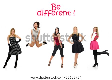 group of beautiful woman and one crazy girl jumping - stock photo