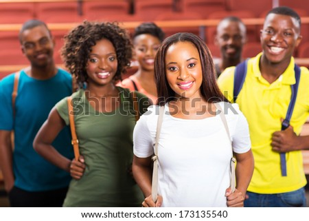 group of beautiful young afro american students - stock photo