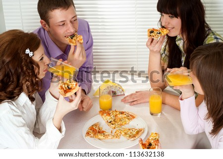 Group of beautiful young people had a great time with each other - stock photo