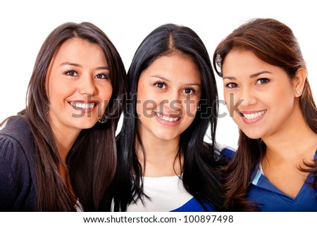 Group of beautiful young women - isolated over white - stock photo