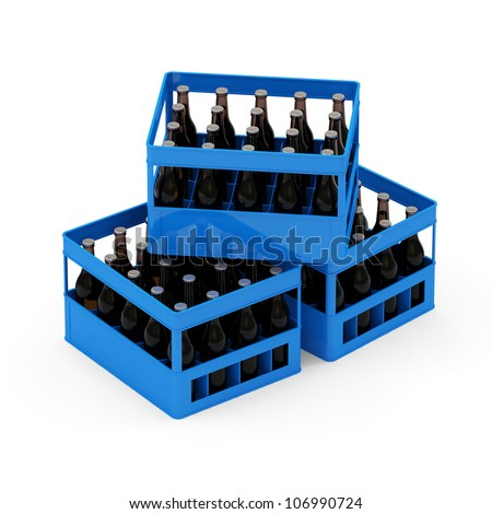 Group of Beer Crates isolated on white background