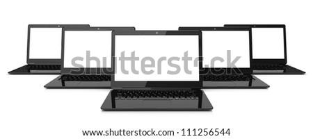 Group of black laptops isolated on white background. 3d illustration - stock photo