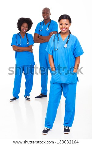 group of black medical workers portrait on white background - stock photo