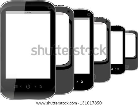 Group of black phones isolated on white background, raster - stock photo