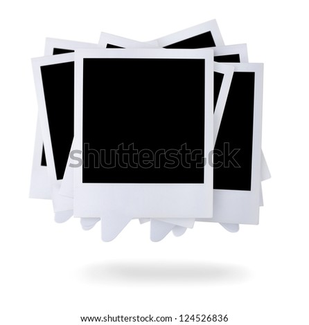 Group of blank paper photo frames speech bubbles isolated on white