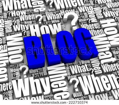 Group of BLOG related 3D words. Part of a series. - stock photo