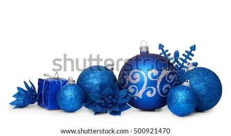 Group of blue christmas balls isolated on white background