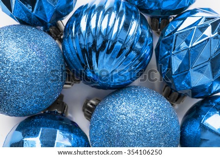Group of blue christmas decorative balls as a background