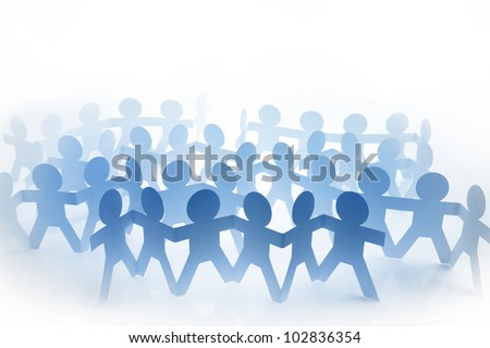 Group of blue paper doll people holding hands on white background - stock photo
