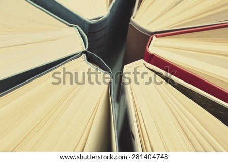 Group of books close up, top view - stock photo