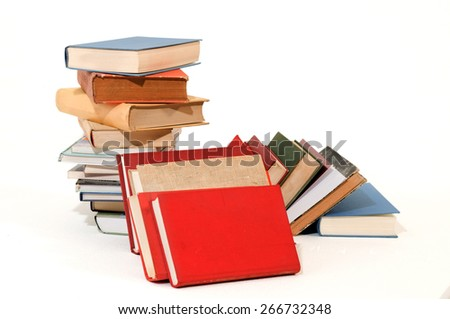 Group of books for school on white backgrounds - stock photo