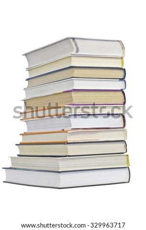 Group of books on a white background