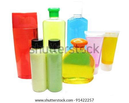 group of bottles of shampoo and shower gel - stock photo