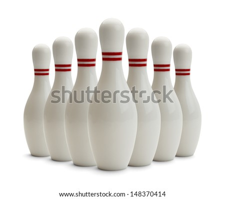 Group of Bowling Pins Isolated on White Background. - stock photo
