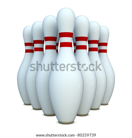 Group of bowling pins isolated on white background