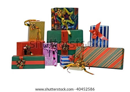 Group of boxes whit presents for Christmas or New Year's day - stock photo