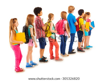 Group of boys and girls standing in the line - stock photo