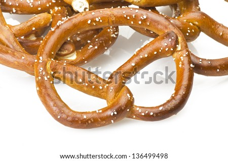 Group of Brezel close up on the white
