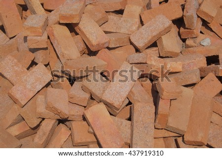 Group of bricks square for building and construction materials - stock photo