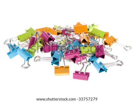 Group of brightly colored bulldog clips.