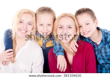 group of brothers and sisters isolated in white