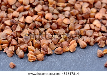 Group of buckwheat on slate closeup