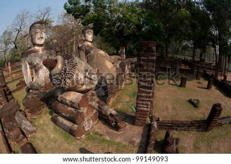 Group of Buddhas in Khamphaengphet historical park in Northern of Thailand .