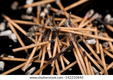 Group of burned matches
