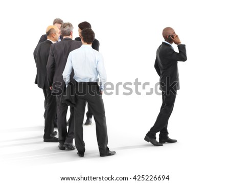 Group of business men with one emerging to the front. Leading the pack, leadership ,performance,initiative  or minority concept on a white isolated background. 3d rendering - stock photo