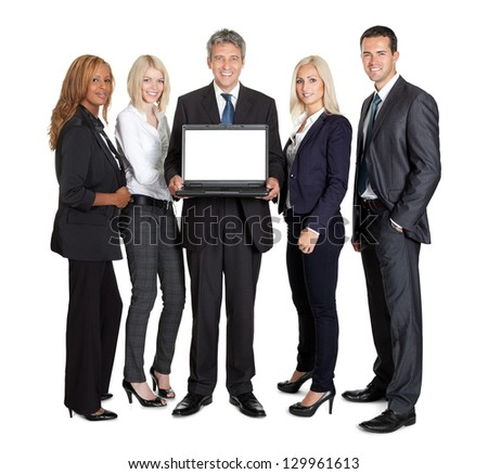 Group of business people advertising a new laptop computer over white background