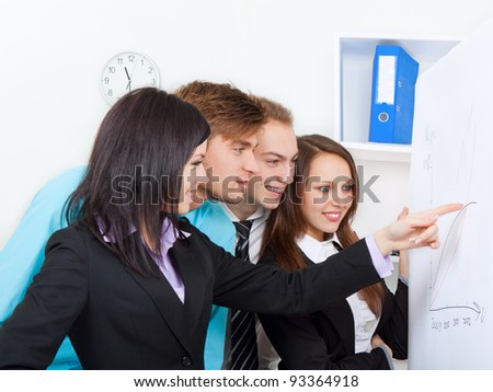 Group of business people associates looking and pointing finger at a chart put up on the wall, white board, office